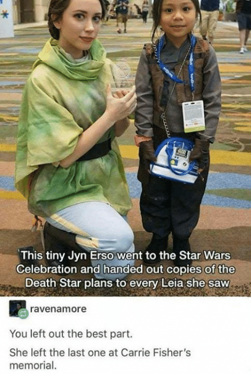Death Star, Saw, and Star Wars: This tiny Jyn Erso went to the Star Wars  Celebration and handed out copies of the  Death Star plans to every Leia she saw  ravenamore  You left out the best part.  She left the last one at Carrie Fisher's  memorial.