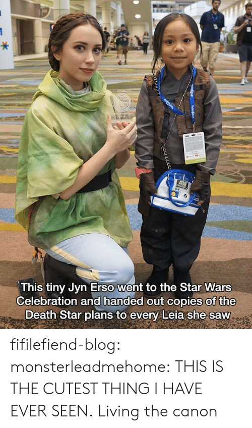 Death Star: This tiny Jyn Erso went to the Star Wars  Celebration and handed out copies of the  Death Star plans to every Leia she saw fifilefiend-blog:  monsterleadmehome:  THIS IS THE CUTEST THING I HAVE EVER SEEN.  Living the canon