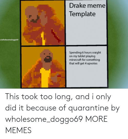 because: This took too long, and i only did it because of quarantine by wholesome_doggo69 MORE MEMES
