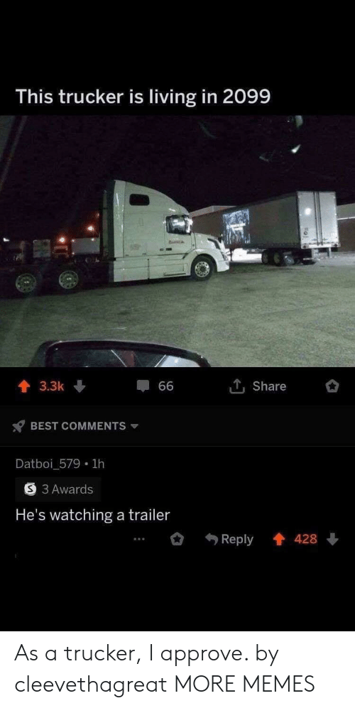 trucker: This trucker is living in 2099  1Share  3.3k  66  BEST COMMENTS  Datboi_579 1h  3 Awards  He's watching a trailer  Reply 428 As a trucker, I approve. by cleevethagreat MORE MEMES