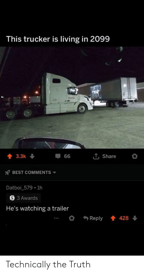 trailer: This trucker is living in 2099  T, Share  3.3k  66  BEST COMMENTS  Datboi_579 1h  S 3 Awards  He's watching a trailer  Reply  428 Technically the Truth