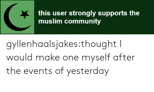 Strongly: this user strongly supports the  muslim community gyllenhaalsjakes:thought I would make one myself after the events of yesterday