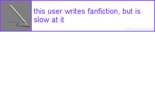 Fanfiction, User, and This: this user writes fanfiction, but is  slow at it