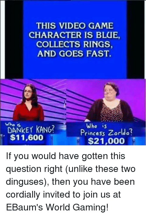 Who Is Dankey Kang: THIS VIDEO GAME  CHARACTER IS BLUE,  COLLECTS RINGS  AND GOES FAST.  who is  DANKEY KANG  Who is  Princess Zorldo  $11,600  $21,000 If you would have gotten this question right (unlike these two dinguses), then you have been cordially invited to join us at EBaum's World Gaming!