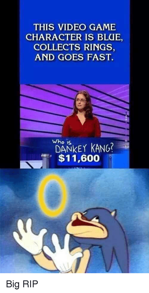 Who Is Dankey Kang: THIS VIDEO GAME  CHARACTER IS BLUE,  COLLECTS RINGS  AND GOES FAST.  who is  DANKEY KANG?  $11,600