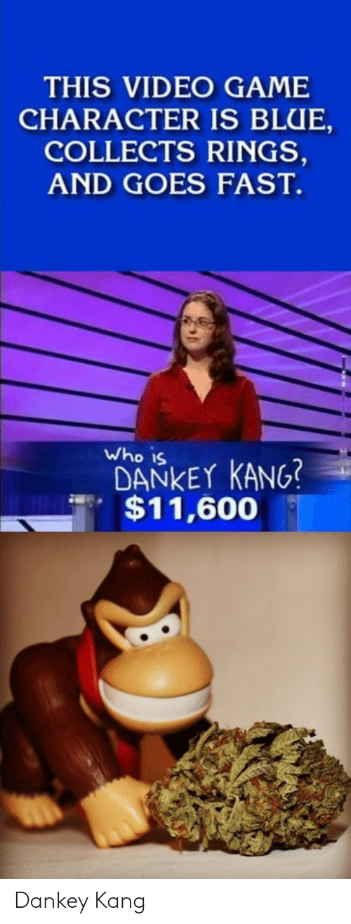 Dankey Kang: THIS VIDEO GAME  CHARACTER IS BLUE  COLLECTS RINGS,  AND GOES FAST.  Who is  DANKEY KANG?  $11,600 Dankey Kang