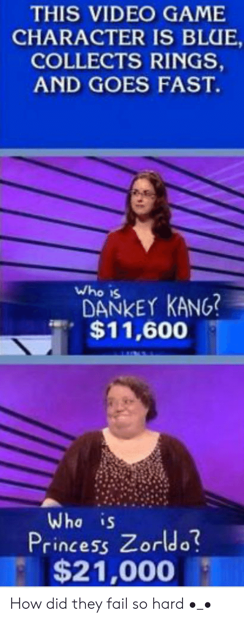 Dankey Kang: THIS VIDEO GAME  CHARACTER IS BLUE,  COLLECTS RINGS,  AND GOES FAST.  Who is  DANKEY KANG?  $11,600  Wha is  Princess Zorldo?  $21,000 How did they fail so hard •_•