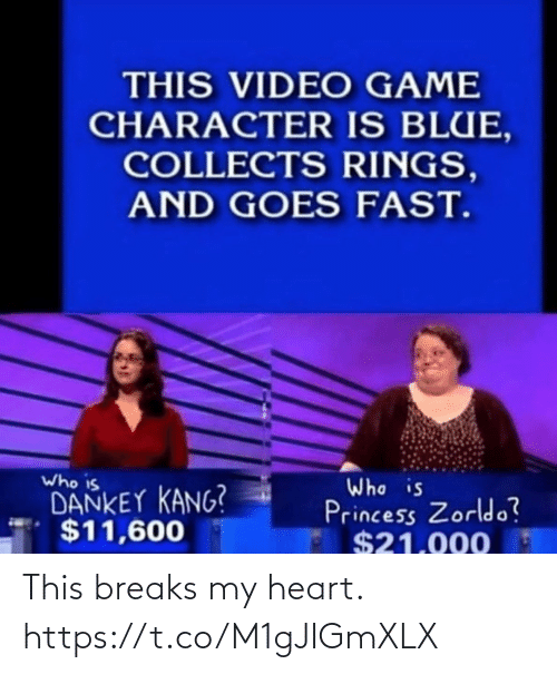 Dankey Kang: THIS VIDEO GAME  CHARACTER IS BLUE,  COLLECTS RINGS,  AND GOES FAST.  Who is  DANKEY KANG?  $11,600  Who is  Princess Zorldo?  $21.000 This breaks my heart. https://t.co/M1gJIGmXLX
