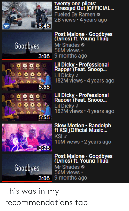 recommendations: This was in my recommendations tab