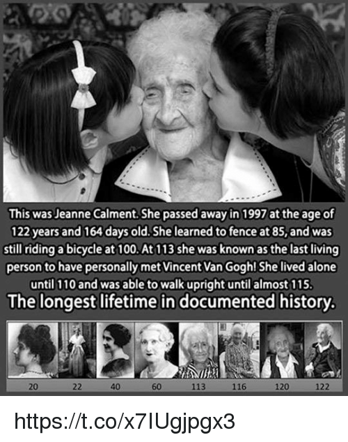 Walk Uprightly: This was Jeanne Calment. She passed away in 1997 at the age of  122 years and 164 days old. She learned to fence at 85, and was  still riding a bicycle at 100. At 113 she was known as the last living  person to have personally met Vincent Van Gogh! She lived alone  until 110 and was able to walk upright until almost 115  The longest lifetime in documented history.  20  40  60  113  116  120  122 https://t.co/x7IUgjpgx3