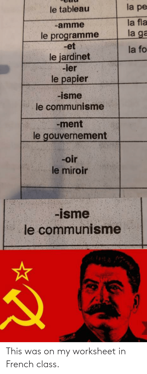 Worksheet: This was on my worksheet in French class.