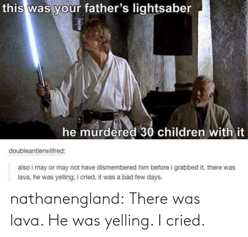 Fathers Lightsaber: this was your father's lightsaber  he murdered 30 children with it  doubleantlerwilfred:  also i may or may not have dismembered him before i grabbed it. there was  lava, he was yelling, i cried. it was a bad few days. nathanengland:  There was lava. He was yelling. I cried.