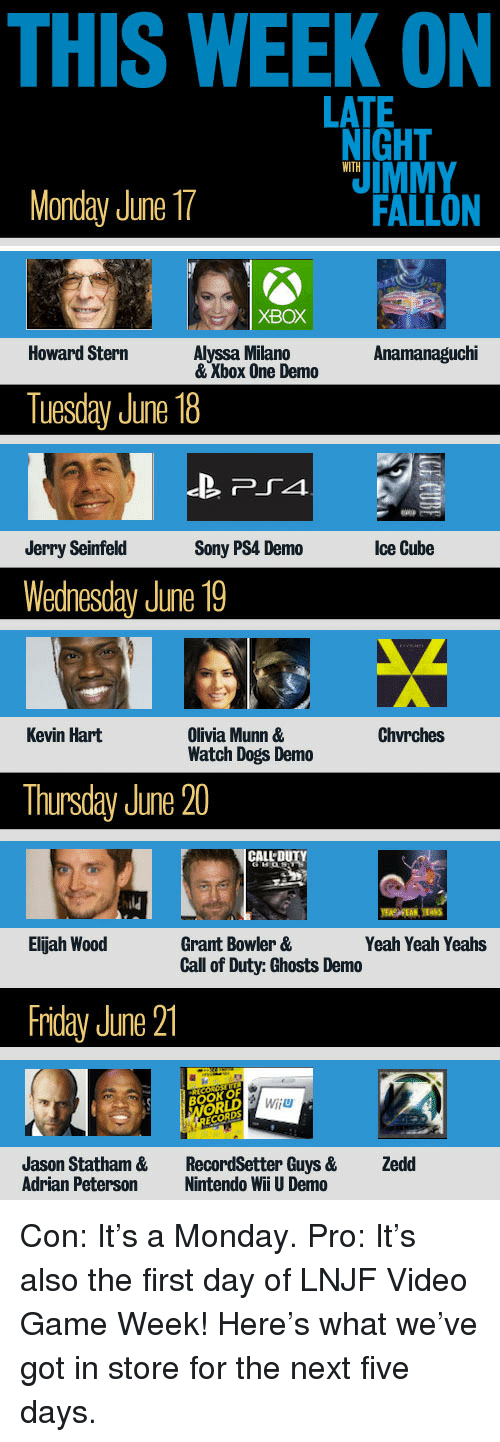nintendo wii: THIS WEEK ON  LATE  NIGHT  IMMY  WITH  Monday June 17  FALLON  XBOX  Howard Stern  Alyssa Milano  & Xbox One Demo  Anamanaguchi  Tuesday June 18  Jerry Seinfeld  Sony PS4 Demo  Ice Cube  Wednesday June 19  Chvrches  Olivia Munn &  Watch Dogs Demo  Kevin Hart  Thursday June 20  ld  Elijah Wood  Grant Bowler &  Call of Duty: Ghosts Demo  Yeah Yeah Yeahs  Friday June 21  BOOK OF  Wiiu  Jason Statham &  Adrian Peterson  RecordSetter Guys &  Nintendo Wii U Demo  Zedd <p>Con: It&rsquo;s a Monday. Pro: It&rsquo;s also the first day of LNJF Video Game Week! Here&rsquo;s what we&rsquo;ve got in store for the next five days.</p>