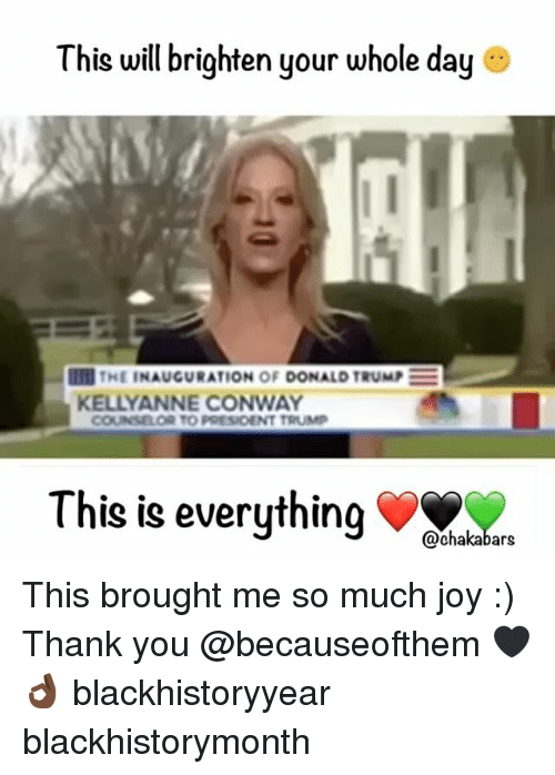 Conway, Donald Trump, and Memes: This will brighten your whole day  IT THE INAUGURATION OF DONALD TRUMP  KELLY ANNE CONWAY  COUNSELOR TO PRESIDENT TRUMP  This is everything  @chakabars This brought me so much joy :) Thank you @becauseofthem 🖤👌🏿 blackhistoryyear blackhistorymonth