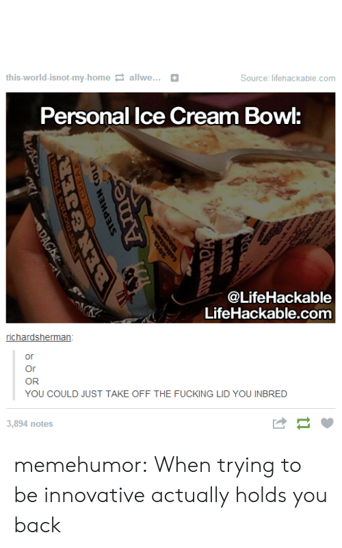Lifehackable Com: this-world-isnot-my-home allwe...+  Source: lifehackable.com  Personal lce Cream Bowl:  @LifeHackable  LifeHackable.com  or  Or  (OR  YOU COULD JUST TAKE OFF THE FUCKING LID YOU INBRED  3,894 notes  はー memehumor:  When trying to be innovative actually holds you back