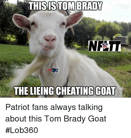 Cheating, Memes, and Tom Brady: THISISTOM  BRADY  THE LIEING CHEATING GOAT Patriot fans always talking about this Tom Brady Goat  #Lob360
