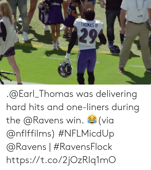 Memes, Ravens, and 🤖: THOMAS II  295 .@Earl_Thomas was delivering hard hits and one-liners during the @Ravens win. 😂(via @nflffilms) #NFLMicdUp  @Ravens | #RavensFlock https://t.co/2jOzRIq1mO