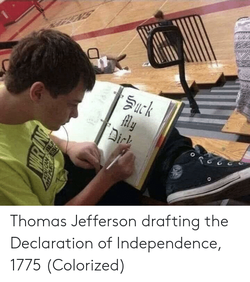 Thomas Jefferson, Declaration of Independence, and Thomas: Thomas Jefferson drafting the Declaration of Independence, 1775 (Colorized)