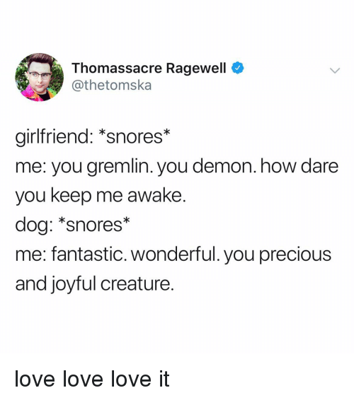 Love, Memes, and Precious: Thomassacre Ragewell  @thetomska  girlfriend: *snores*  me: you gremlin. you demon. how dare  you keep me awake.  dog: *snores*  me: fantastic. wonderful. you precious  and joyful creature. love love love it