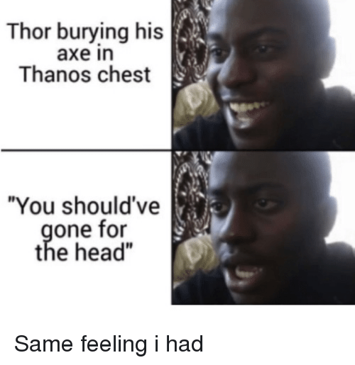 """Head, Thor, and Thanos: Thor burying his  axe in  Thanos chest  """"You should've  one for  the head"""" Same feeling i had"""