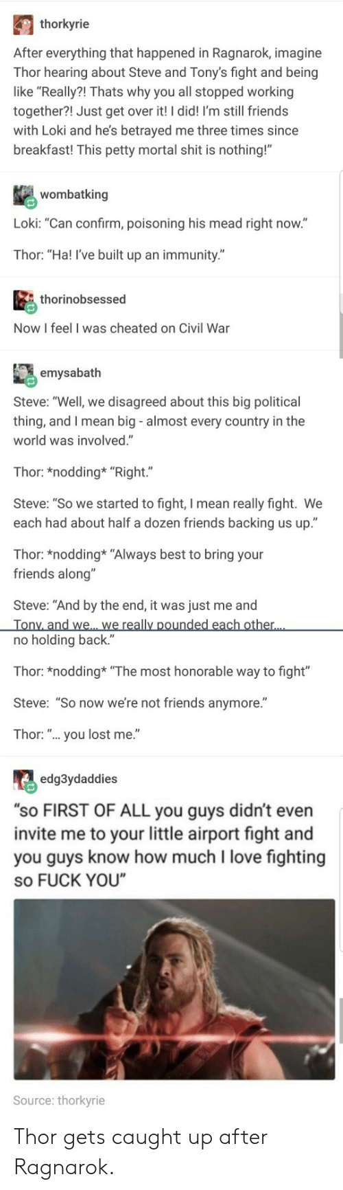 "tonys: thorkyrie  After everything that happened in Ragnarok, imagine  Thor hearing about Steve and Tony's fight and being  like ""Really?! Thats why you all stopped working  together?! Just get over it! I did! I'm still friends  with Loki and he's betrayed me three times since  breakfast! This petty mortal shit is nothing!""  wombatking  Loki: ""Can confirm, poisoning his mead right now.""  Thor: ""Ha! I've built up an immunity.""  thorinobsessed  Now I feel I was cheated on Civil War  emysabath  Steve: ""Well, we disagreed about this big political  thing, and I mean big - almost every country in the  world was involved.""  Thor: *nodding* ""Right.""  Steve: ""So we started to fight, I mean really fight. We  each had about half a dozen friends backing us up.""  Thor: *nodding* ""Always best to bring your  friends along""  Steve: ""And by the end, it was just me and  no holding back.""  Thor: *nodding ""The most honorable way to fight""  Steve: ""So now we're not friends anymore.""  Thor: "".. you lost me.""  edg3ydaddies  ""sO FIRST OF ALL you guys didn't even  invite me to your little airport fight and  you guys know how much I love fighting  so FUCK YOU  Source: thorkyrie Thor gets caught up after Ragnarok."