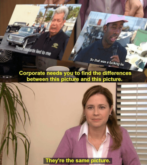 Lied To: Those bastards lied to me  So that was a fucking lie  Corporate needs you to find the differences  between this picture and this picture.  They're the same picture.