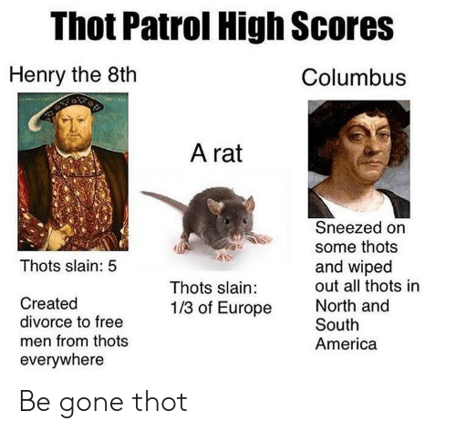 America, Thot, and Europe: Thot Patrol High Scores  Columbuss  Henry the 8th  A rat  Sneezed on  some thots  and wipecd  out all thots in  Thots slain: 5  Thots slain:  1/3 of Europe  Created  divorce to free  men from thots  everywhere  North and  South  America Be gone thot