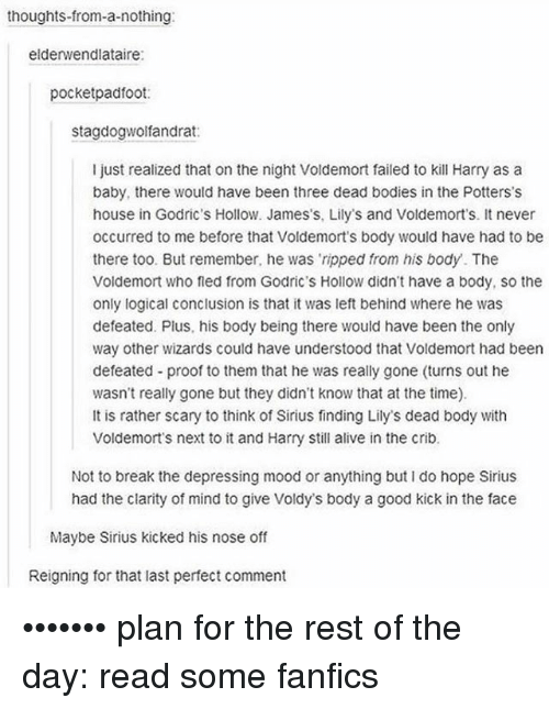 Fanfics: thoughts from-a-nothing  elderwendlataire:  pocketpadfoot  stagdogwolfandrat:  I just realized that on the night Voldemort failed to kill Harry as a  baby, there would have been three dead bodies in the Potters's  house in Godric's Hollow. James's, Lily's and Voldemorts. It never  occurred to me before that Voldemort s body would have had to be  there too. But remember, he was ripped from his body. The  Voldemort who fled from Godric's Hollow didn't have a body, so the  only logical conclusion is that it was left behind where he was  defeated. Plus, his body being there would have been the only  way other wizards could have understood that Voldemort had been  defeated proof to them that he was really gone (turns out he  wasn't really gone but they didn't know that at the time).  It is rather scary to think of Sirius finding Lily's dead body with  Voldemorts next to it and Harry Still alive in the crib.  Not to break the depressing mood or anything but I do hope Sirius  had the clarity of mind to give Voldys body a good kick in the face  Maybe Sirius kicked his nose off  Reigning for that last perfect comment ••••••• plan for the rest of the day: read some fanfics