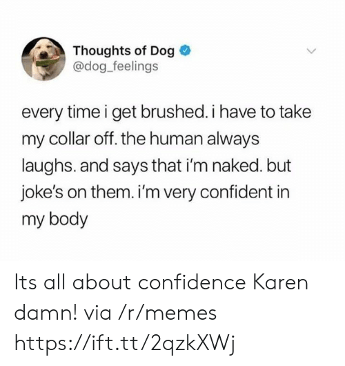 Im Naked: Thoughts of Dog  @dog feelings  every time i get brushed. i have to take  my collar off. the human always  laughs. and says that i'm naked. but  joke's on them. i'm very confident in  my body Its all about confidence Karen damn! via /r/memes https://ift.tt/2qzkXWj
