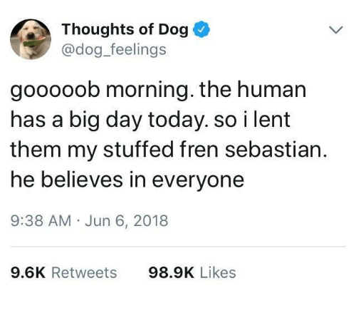 lent: Thoughts of Dog  @dog_feelings  gooooob morning. the human  has a big day today. so i lent  them my stuffed fren sebastian.  he believes in everyone  9:38 AM Jun 6, 2018  9.6K Retweets  98.9K Likes