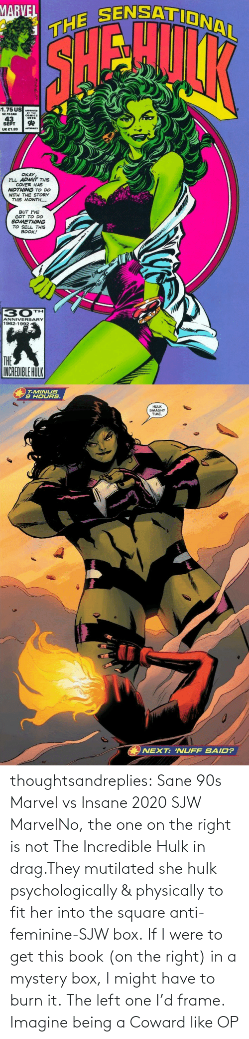 Into: thoughtsandreplies:  Sane 90s Marvel vs Insane 2020 SJW MarvelNo, the one on the right is not The Incredible Hulk in drag.They mutilated she hulk psychologically & physically to fit her into the square anti-feminine-SJW box. If I were to get this book (on the right) in a mystery box, I might have to burn it. The left one I'd frame.    Imagine being a Coward like OP