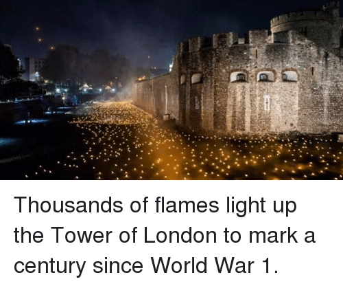 world war 1: Thousands of flames light up the Tower of London to mark a century since World War 1.