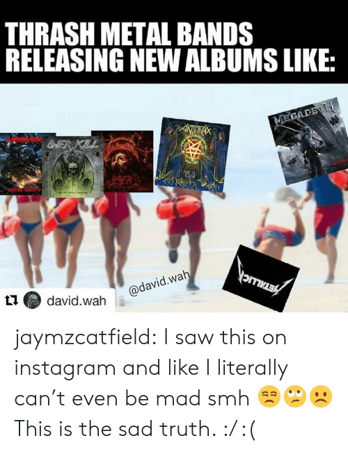 Albums: THRASH METAL BANDS  RELEASING NEW ALBUMS LIKE:  MEGADE H  ANTHR  VERI  HAMER  S  orrMER  @david.wah  david.wah  PA jaymzcatfield:   I saw this on instagram and like I literally can't even be mad smh 😒🙄☹️ This is the sad truth. :/ :(