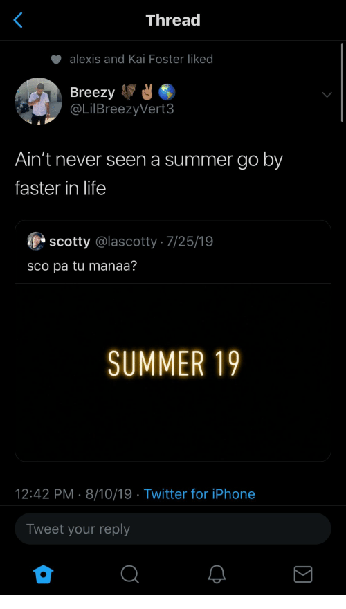 sco: Thread  alexis and Kai Foster liked  Breezy  @LilBreezyVert3  Ain't never seen a summer go by  faster in life  scotty @lascotty 7/25/19  sco pa tu manaa?  SUMMER 19  12:42 PM 8/10/19 Twitter for iPhone  Tweet your reply
