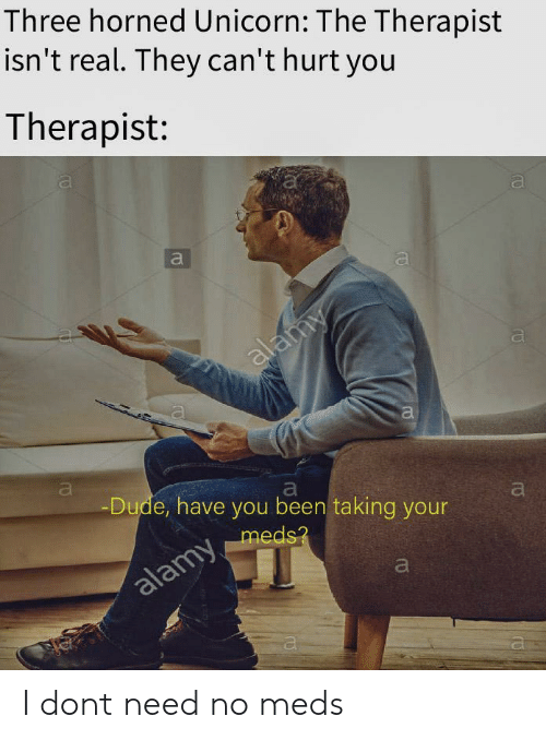meds: Three horned Unicorn: The Therapist  isn't real. They can'thurt you  Therapist:  al  Dude, have you been taking your  meds I dont need no meds