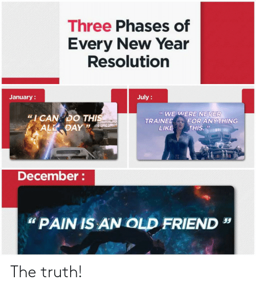 """New Year Resolution: Three Phases of  Every New Year  Resolution  July :  January :  * WE WERE NEVER  FOR ANYTHING  THIS.  """"I CAN DO THIS  ALL DAY """"  TRAINED  LIKE  December :  """" PAIN IS AN OLD FRIEND The truth!"""