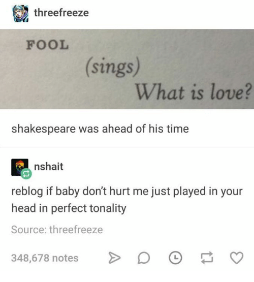dont-hurt-me: threefreeze  FOOL  sings  What is love?  shakespeare was ahead of his time  nshait  reblog if baby don't hurt me just played in your  head in perfect tonality  Source: threefreeze  348,678 notesO  348,678 notes> O