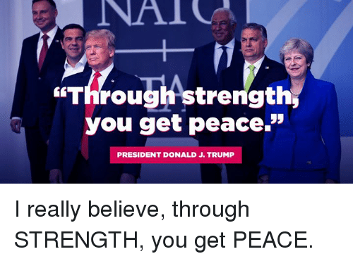 "Trump, Peace, and President: ""Through strength,  you get peace.""  PRESIDENT DONALD J. TRUMP I really believe, through STRENGTH, you get PEACE."