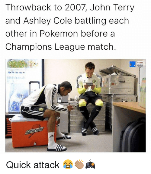 Ashley Cole: Throwback to 2007, John Terry  and Ashley Cole battling each  other in Pokemon before a  Champions League match. Quick attack 😂👏🏽🎮