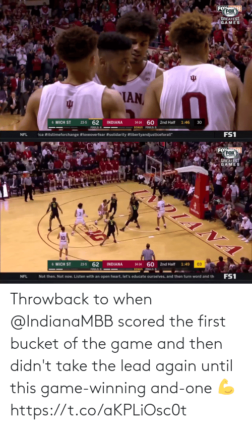 and then: Throwback to when @IndianaMBB scored the first bucket of the game and then didn't take the lead again until this game-winning and-one 💪 https://t.co/aKPLiOsc0t