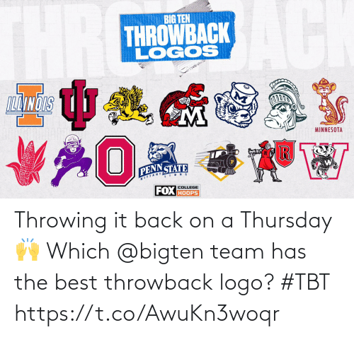 TBT: Throwing it back on a Thursday 🙌  Which @bigten team has the best throwback logo? #TBT https://t.co/AwuKn3woqr