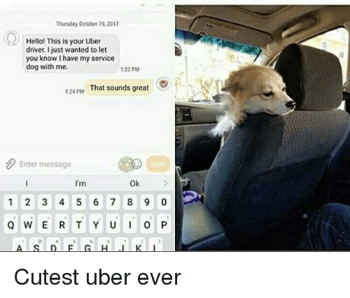 Hello, Uber, and Uber Driver: Thursday October 19,2017  Hello! This is your Uber  driver. Ijust wanted to let  you know I have my service  dog with me.  122 PM  124PAM  That sounds great  Enter message  I'm  Ok  1 2 3 4 5 6 7 8 9 0 Cutest uber ever