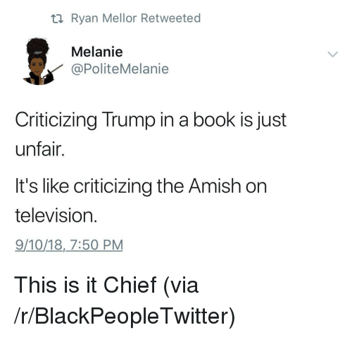 amish: ti Ryan Mellor Retweeted  Melanie  PoliteMelanie  Criticizing Trump in a book is just  unfair.  It's like criticizing the Amish on  television  9/10/18,7:50 PM This is it Chief (via /r/BlackPeopleTwitter)