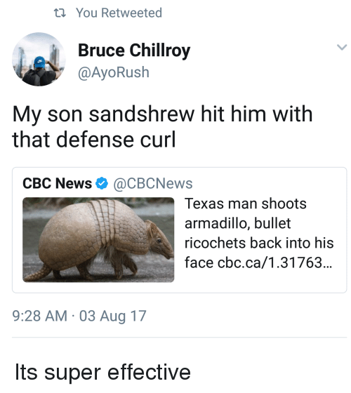 News, Texas, and Back: ti You Retweeted  Bruce Chillroy  @AyoRush  My son sandshrew hit him with  that defense curl  CBC News Ф @CBCNews  Texas man shoots  armadillo, bullet  ricochets back into his  face cbc.ca/1.31763...  9:28 AM 03 Aug 17 Its super effective