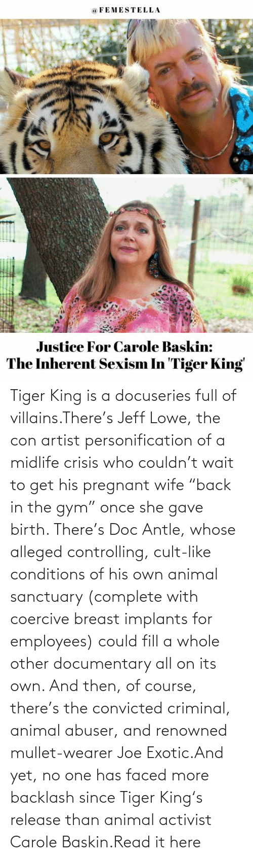 """birth: Tiger King is a docuseries full of villains.There's Jeff Lowe, the con artist personification of a midlife crisis who couldn't wait to get his pregnant wife """"back in the gym"""" once she gave birth. There's Doc Antle, whose alleged controlling, cult-like conditions of his own animal sanctuary (complete with coercive breast implants for employees) could fill a whole other documentary all on its own. And then, of course, there's the convicted criminal, animal abuser, and renowned mullet-wearer Joe Exotic.And yet, no one has faced more backlash since Tiger King's release than animal activist Carole Baskin.Read it here"""