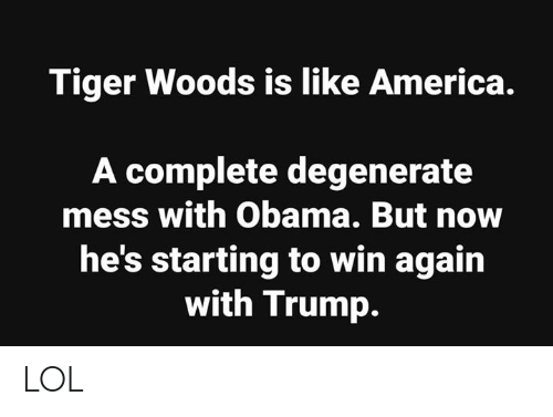 degenerate: Tiger Woods is like America.  A complete degenerate  mess with Obama. But now  he's starting to win again  with Trump. LOL