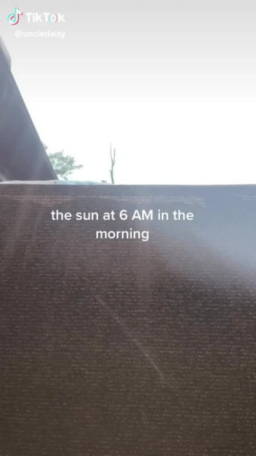 Sun, The Sun, and Morning: TikTok  @undledalsy  the sun at 6 AM in the  morning