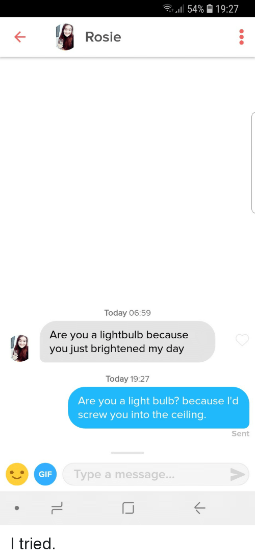 Brightened: till 54%  19:27  Rosie  Today 06:59  Are you a lightbulb because  you just brightened my day  Today 19:27  Are you a light bulb? because I'd  screw you into the ceiling.  Sent  Type a message..  GIF I tried.