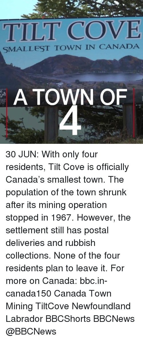 Tilting: TILT COVE  SMALLEST TOWN IN CANADA  A TOWN OF  IRE 30 JUN: With only four residents, Tilt Cove is officially Canada's smallest town. The population of the town shrunk after its mining operation stopped in 1967. However, the settlement still has postal deliveries and rubbish collections. None of the four residents plan to leave it. For more on Canada: bbc.in-canada150 Canada Town Mining TiltCove Newfoundland Labrador BBCShorts BBCNews @BBCNews