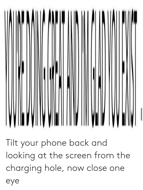 Phone: Tilt your phone back and looking at the screen from the charging hole, now close one eye